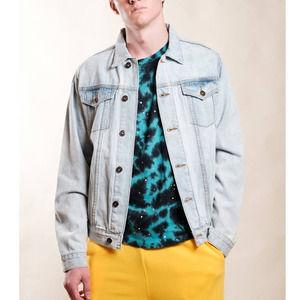 Brooklyn Cloth Mfg. Co. Light Wash Button Unisex Jean Denim Jacket Men's Large